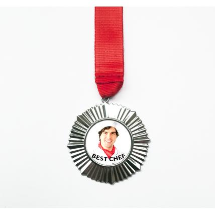 Metallic Medal Ribbon Necklace